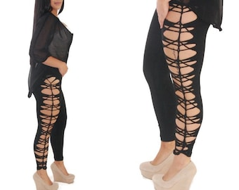 Womens Black Legging and Tights Plus Size and Regular Size  Rocker Cut Leggings