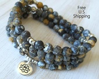 108 mala, Ocean Jasper, Mala Bracelet or Necklace,Reiki charged, Buddhist Rosary,Prayer beads, Gemstone, wrist mala, Lotus, buddha, ohm, om