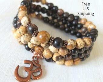 Harmony, Picture Jasper, 108 Mala, wrap bracelet, necklace, Prayer beads, Yoga bracelet, 108 necklace, Reiki Charged, wrist Mala, Om, rosary