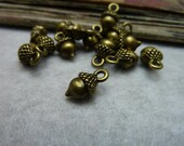 50 pcs 13x6x8mm Antique Bronze Brass 3D Small Pineal Pinecones Pine squirrels nuts Cones Charms Pendants fc99177