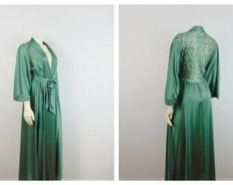 Vintage Olga Dressing Gown Robe 94017 Elegant Lace Back Robe Nylon Satin Deep Sage Green Belted Size M Modern Medium to Large