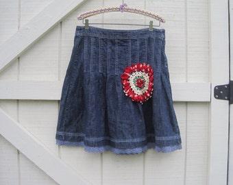 Denim pleated skirt, M Rustic skirt, bohemian skirt, Boho skirt M, cowgirl denim skirt, upcycled