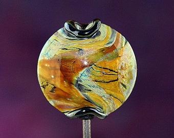 Organic Amber Handmade Lampworked Glass Bead OOAK Buff Aqua Gold Amber Black Lentil Focal Lampwork