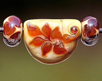 Ivory Fossil Set of Three Handmade Lampworked Glass Beads OOAK Pressed Drop Focal Rondelles Ivory Amber Silver Lampwork