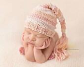 Newborn Hat, Stocking Hat, Cream, Peach, Pink, Photo Prop