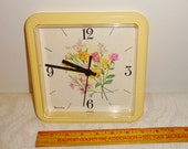Vintage Westclox Floral Wall Clock Yellow Plastic Square Battery Operated