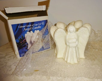 Vintage Angel Candle White 3 Angels Large Unused in Box 1970's Colonial Candle