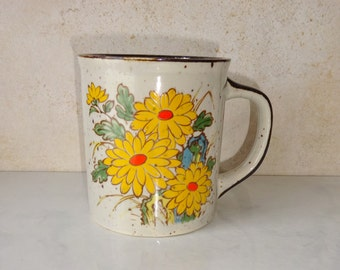 Vintage Stoneware Ceramic Floral Mug Yellow Flowers Cup Otagiri Style