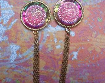 """Pink Druzy Tassel Earrings - """"Sparkle Shortcake"""""""