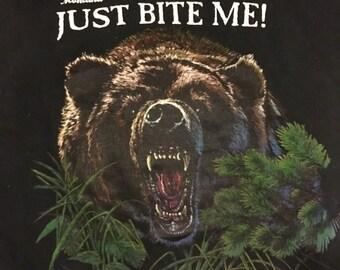 JUST BITE ME! Montana vintage bear t-shirt tee shirt