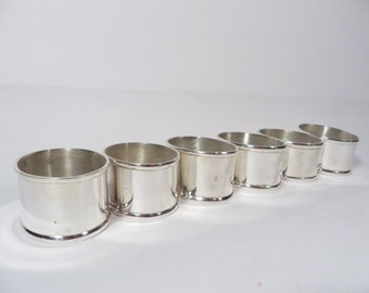 Vintage Silverplate Oval Napkin Rings - Set of 6 Silver Plate Napkin Rings