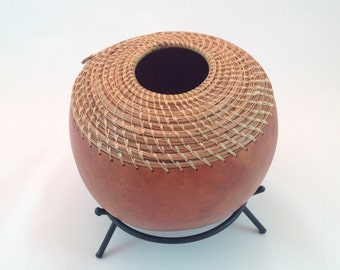 Tradditional dyed gourd with pine needle coiling and artificial sinew thread