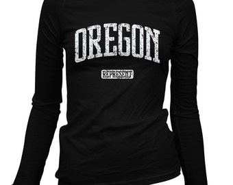 Women's Oregon Represent Long Sleeve Tee - S M L XL 2x - Ladies' Oregon T-shirt, Portland, Corvallis, Bend, Eugene, Salem - 2 Colors