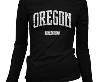 Women's Oregon Represent Long Sleeve Tee - S M L XL 2x - Ladies' Oregon T-shirt, Portland, Corvallis, Bend, Eugene, Salem - 2 Colors