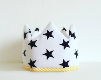 Fabric crown, birthday crown, dress up, children, headband, princess crown, black and white, party crown, photo prop