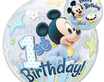 First Birthday for baby Boy 22 Inches Baby Mickey Mouse Bubble Balloon ready to ship.