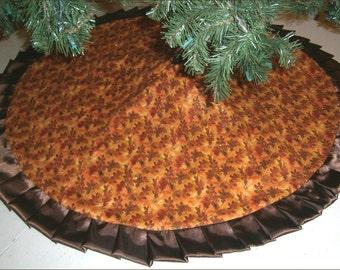 "Autumn / Fall Tree Skirt ~ 47"" ~ Autumn Leaves with Sparkles"
