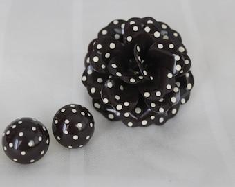Enamel Polka Dot Flower Brooch and Earrings Chocolate Brown