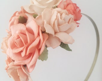 Floral fascinator with Peach and Cream Flowers Fascinator Vintage Wedding Party Bridal Accessory Bridesmaid statement