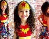 WONDER WOMAN Dress, Girls Dress, Wonder Woman,Marvel, Sleeveless Dress, Aurora Dress - Available in  2y - 12y