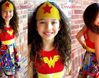 WONDER WOMAN Dress, Girls Dress, Wonder Woman,Marvel, Sleeveless Dress, Aurora Dress - Available in  2y - 12y