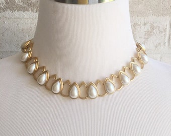 Goldtone and Pearl Teardrop Necklace