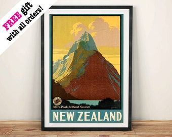 NEW ZEALAND POSTER: Vintage Mountain Travel Poster Advert, Art Print Wall Hanging