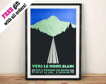 MONT BLANC POSTER: Vintage French Mountain Travel Art Print Wall Hanging