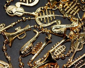 Bead Necklace - Mardi Gras Beads - Mardi Gras Music Beads - Mardi Gras Beads Vintage Gold - Music Mardi Gras Vintage