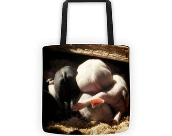 Little Piglet Bums, New Litter of Pigs, Farm Life Tote for Eco Shopping and School and Sundry