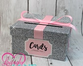 Cardbox -  Glitter Silver and Baby Pink Gift Money Box for Any Event - Baby Shower, Wedding, Bridal Shower, Birthday Party, Sweet 16
