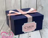 Card Holder Box with Sign in Navy Blue & Blush Pink -  Gift Money Box - Wedding, Bridal Shower, Birthday, Baby Shower, Engagement