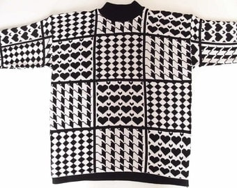 Vintage Ugly 90's Sweater - Black and White - Oversized - Checkered Houndstooth Hearts Sweater - God Save the Queen