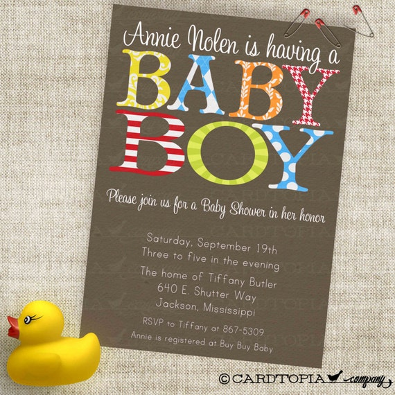 Very Boy Baby Shower Invitation in Trendy Patterns with Red Blue Green and Yellow Custom Invites with Professional Printing Option