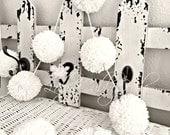 CUSTOM FOR TARA Ivory & Soft Pink Pom Pom Garland Yarn Birthday Pom Pom Garland  Baby Bridal Shower Garland Birthday Wedding