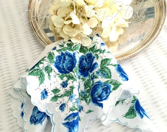 Something Blue Wedding Handkerchief for the Bride Vintage Floral Cottage Chic Hanky Bridesmaid Hanky Farmhouse Mother's Day Hankie Large 15""