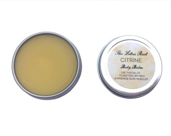 Small / Citrine: Bergamot, Sandalwood and Frankincense Body Balm, Herbal Salve for hands and body - Small / 0.5 oz tin
