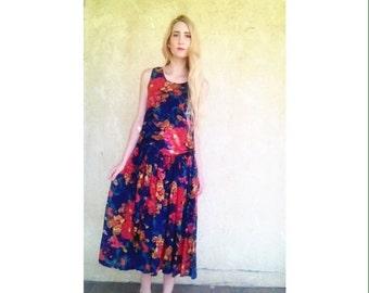 Vintage colorful floral long flowy summer dress