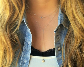 Silver Y Necklace-Sterling Silver Drop Necklace, Silver Lariat, Dainty Ultra Feminine Jewelry, Layer Necklace in Sterling Silver, Must Have