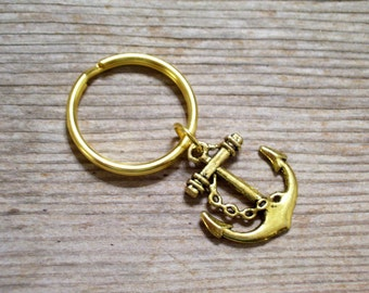 Gold Anchor Key Chain, Nautical Anchor Keychain, Sailor Key Chain, Antiqued Gold Ship Anchor Keyring, Gold Plated Keychain Father's Day