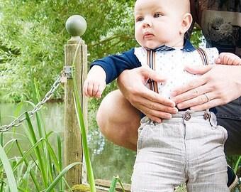 Triangle Chips -  Baby Boy Tie Bib with cotton + white dot minky