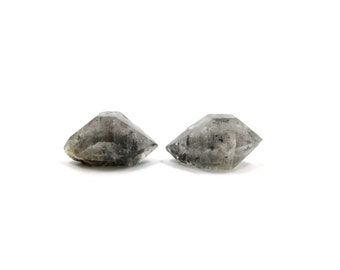 Herkimer Diamond Style Tibetan Quartz Double Terminated 2 Raw Crystals 21mm and 23mm Natural Rough Stone for Jewelry Making (Lot 9652)