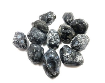"Apache Tear Obsidian 3 Stones 28mm - 36mm (1.1"" - 1.4"") For Wire Wrapping and Jewelry Making"