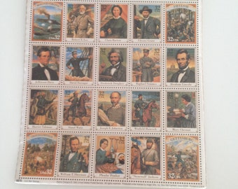 Civil War Stamps - Sheet of 20 Thirty- Two Cent Stamps 1995 Collectible Stamps Sealed