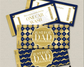 Faux Gold Foil Printable Coupon Book Fathers Day Gift Coupons Gift For Dad Coupons Gift For Him Digital Download PDF Instant Download DT1840