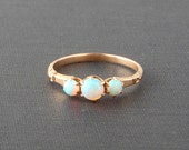 Victorian Opal Ring. 14K Gold. Three Stone Row. Size 7