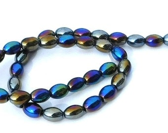 CLEARANCE AB Black Glass Oval Beads, Full Strand, Purple, Yellow, Blue, Shiny Colorful, 11mm, Beads, Beading Supply, Crafting Beads