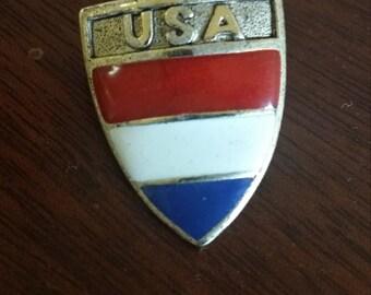 Gold USA Shield Vintage Enamel Pin