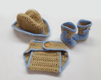 Crochet Baby Boy Cowboy Set with Hat and Boots, Photography Prop Set, Sizes Newborn, 0-3 Months, and 3-6 Months - Lace & Light Blue