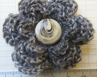 Irish crochet flower brooch in grey with vintage button centre